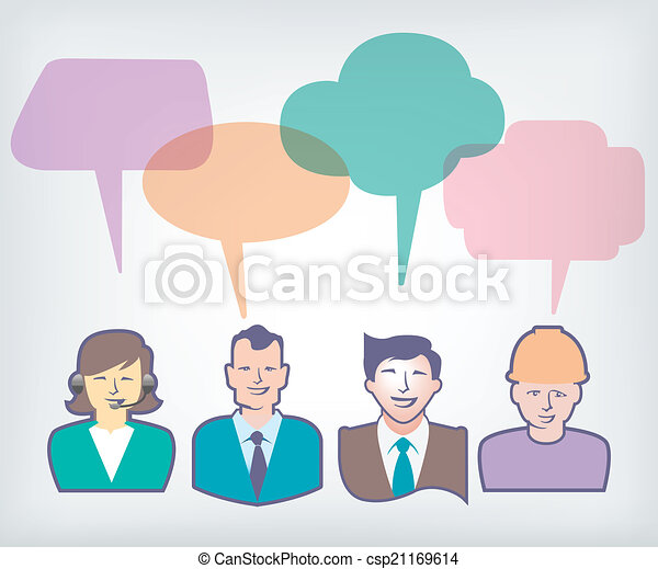 people with colorful speech balloon - csp21169614