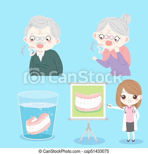 people with denture clean - csp51433075