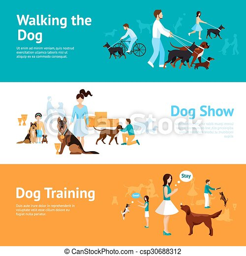 People With Dogs Banner Set - csp30688312