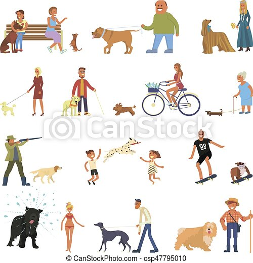 People with dogs set - csp47795010