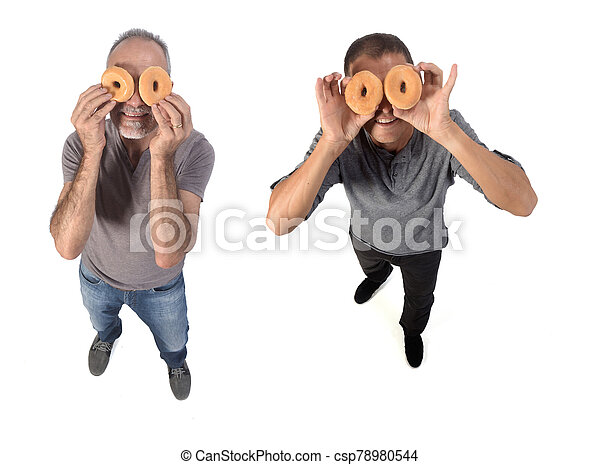 people with donut on white background - csp78980544