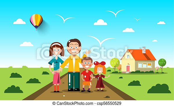 People with Family House on Background. Vector Flat Design Landscape. - csp56550529