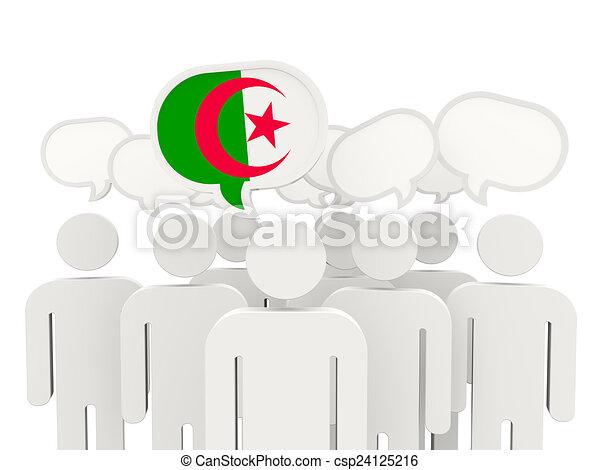 People with flag of algeria - csp24125216