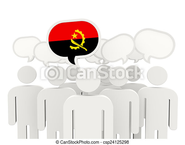 People with flag of angola - csp24125298