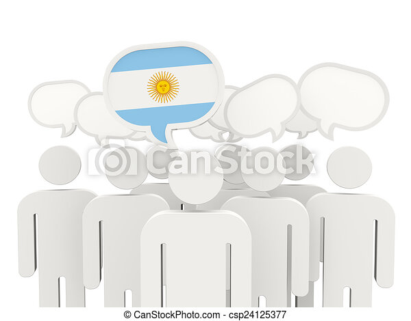 People with flag of argentina - csp24125377