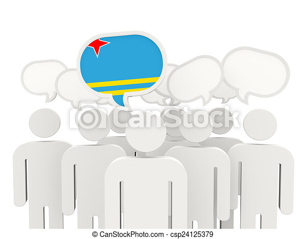 People with flag of aruba - csp24125379