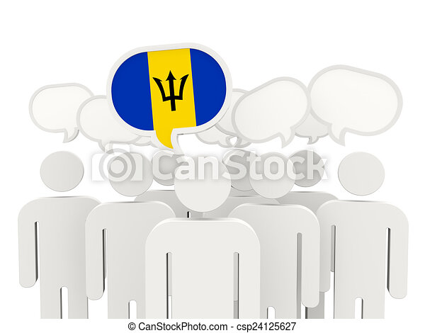 People with flag of barbados - csp24125627