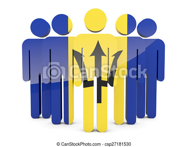 People with flag of barbados - csp27181530