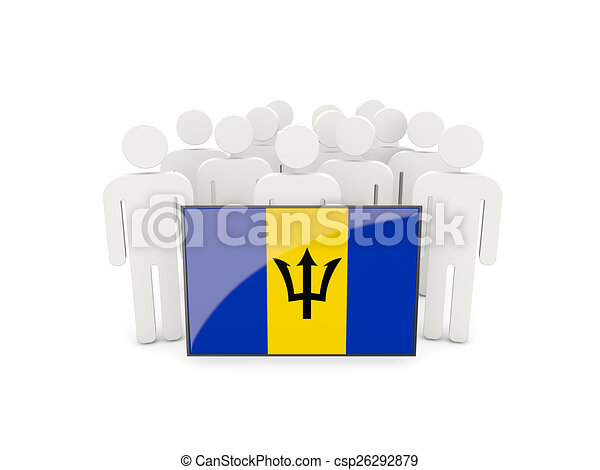 People with flag of barbados - csp26292879