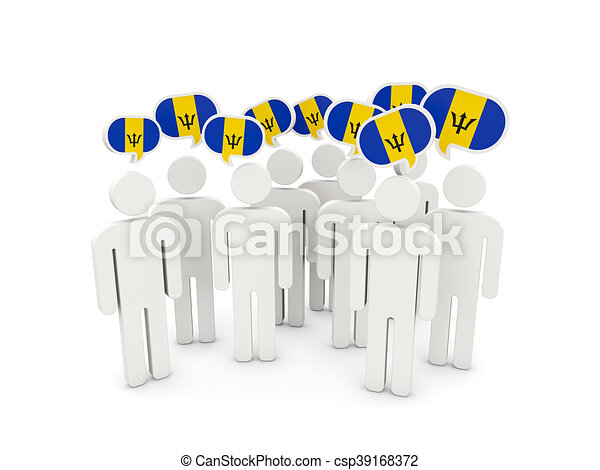 People with flag of barbados - csp39168372