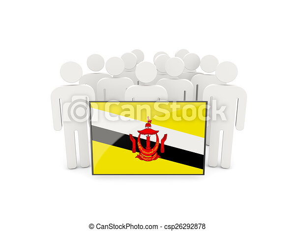 People with flag of brunei - csp26292878
