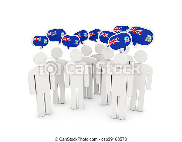 People with flag of falkland islands - csp39168573