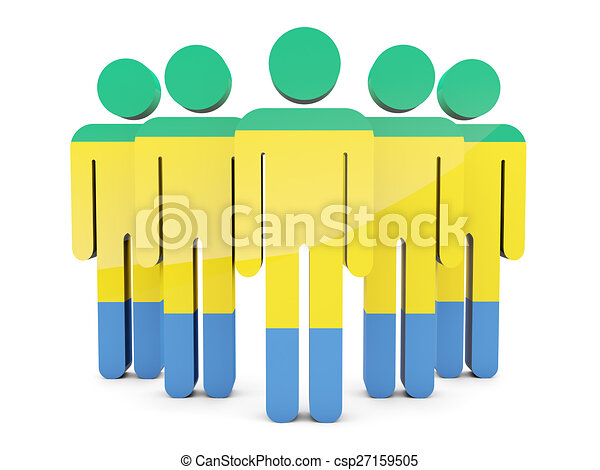People with flag of gabon - csp27159505