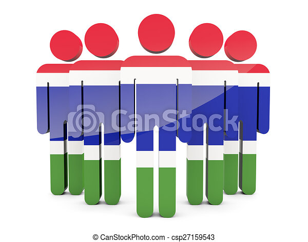 People with flag of gambia - csp27159543