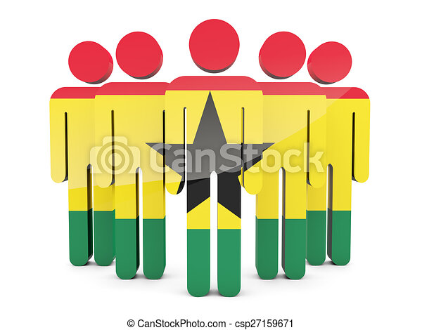 People with flag of ghana - csp27159671