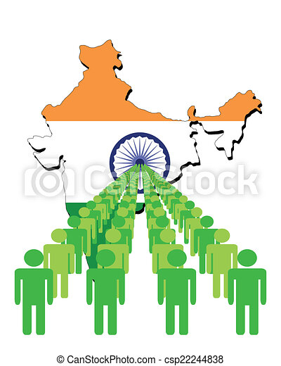 India Map Flag.Lines Of People With India Map Flag Vector Illustration