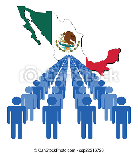 Lines Of People With Mexico Map Flag Vector Illustration