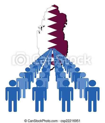 people with Qatar map flag - csp22216951