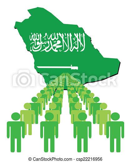 people with Saudi Arabia map flag - csp22216956
