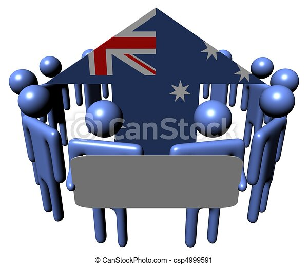 people with sign and Australia flag arrow - csp4999591