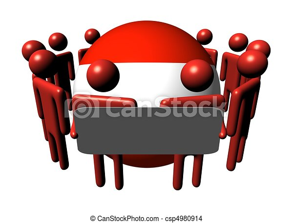 people with sign and Austria flag sphere - csp4980914