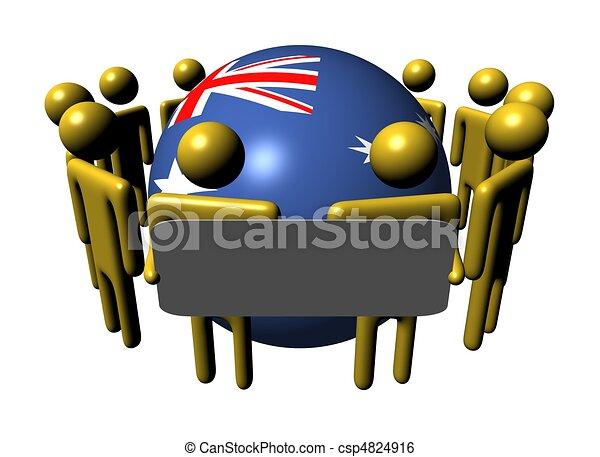 people with sign around Australia flag sphere - csp4824916