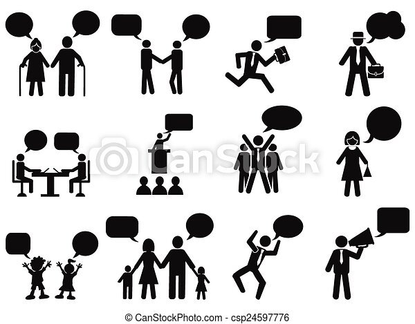people with speech bubbles icons - csp24597776