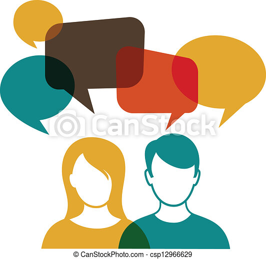 people with speech bubbles - csp12966629