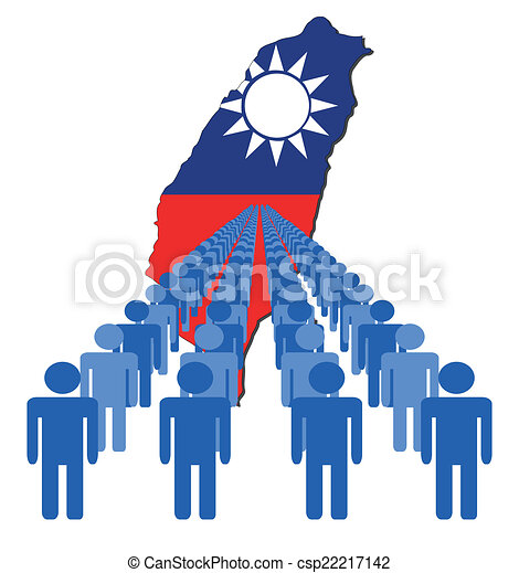 people with Taiwan map flag - csp22217142