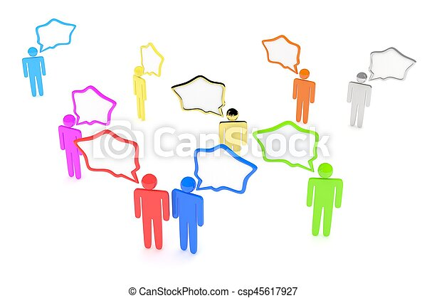 people with talk bubbles isolated over a white background. 3d rendering. - csp45617927