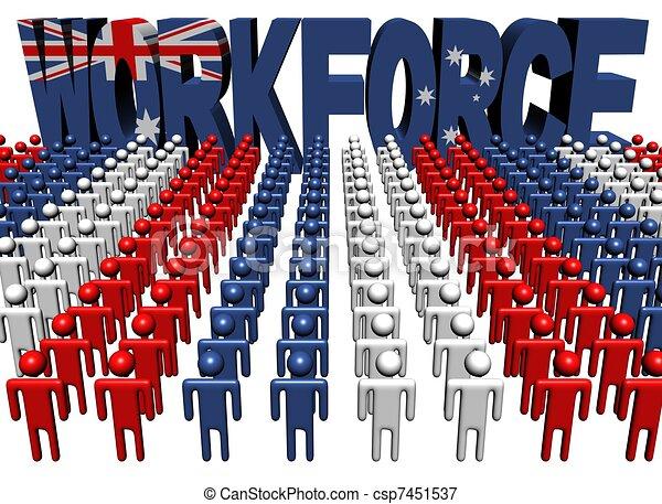 people with workforce Australia flag text - csp7451537