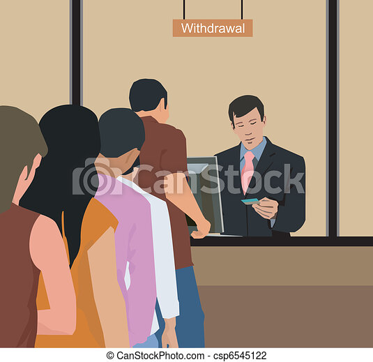 People withdrawing money at bank - csp6545122