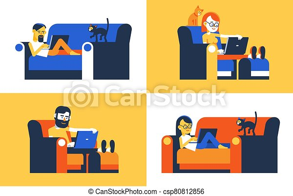 People woring home remotely - csp80812856