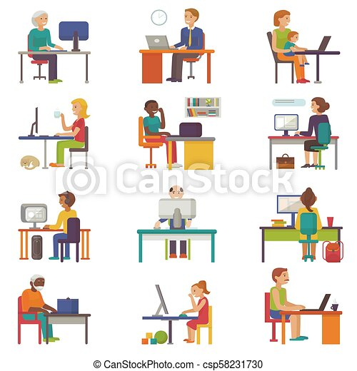 People work place vector business worker or person working on laptop at the table in office coworker or character workplace on computer with illustration isolated on white background - csp58231730