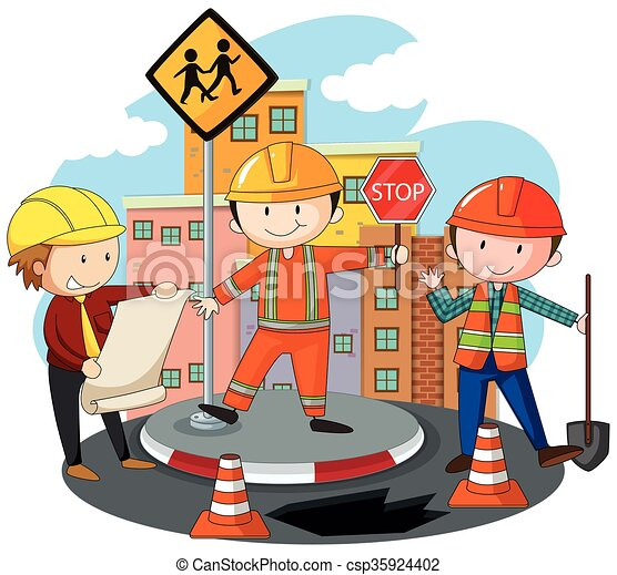 people working at the road construction illustration rh canstockphoto com Puzzle People Clip Art Clip Art People at Work