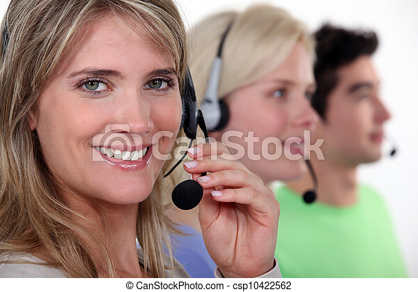 people working in a call center - csp10422562