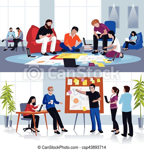 People Working In Team Flat Compositions - csp43893714