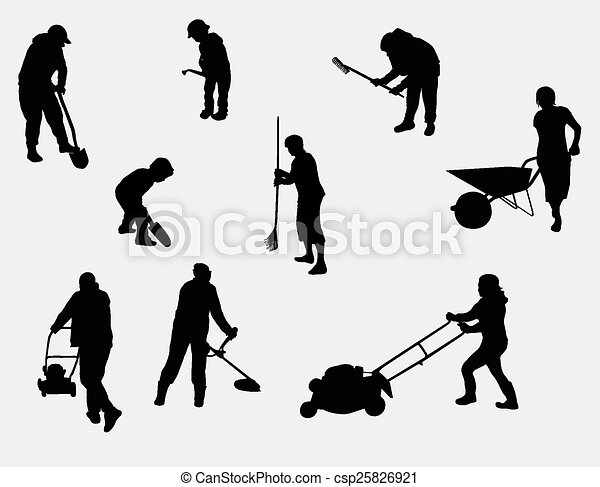 people working outdoors silhouettes - csp25826921