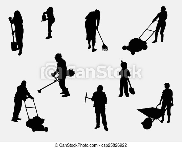 people working outdoors silhouettes - csp25826922