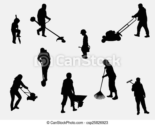people working outdoors silhouettes - csp25826923