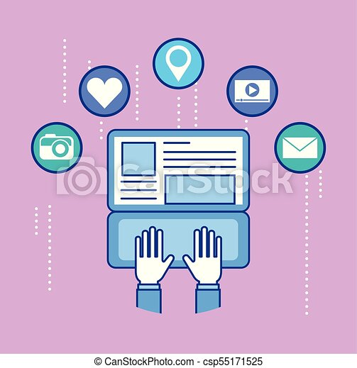 People Working With Laptop In Social Networks With Social Media