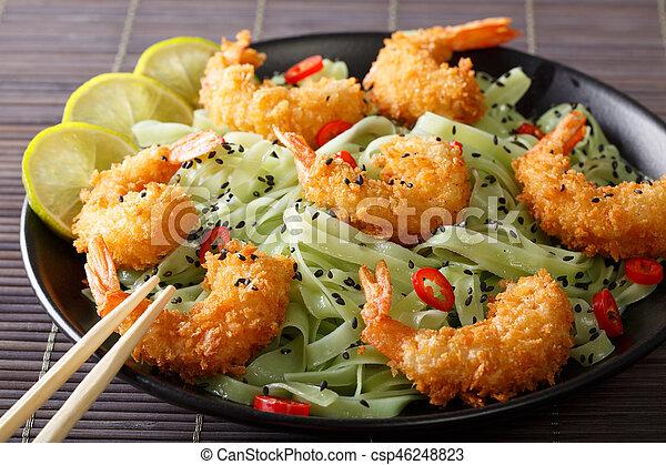 pepe, molliche, gamberetto, sesamo, verde, close-up., orizzontale, pasta, peperoncino - csp46248823
