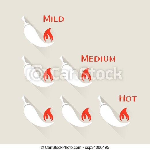 peperoni, chilli, vettore, scala - csp34086495