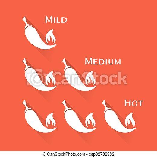 peperoni, chilli, vettore, scala - csp32782382