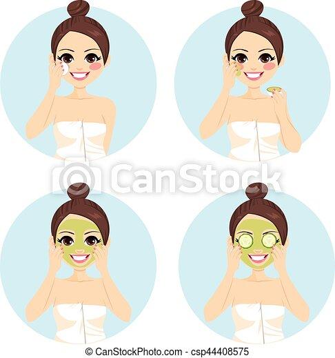 Tratamiento facial de pepino de belleza - csp44408575