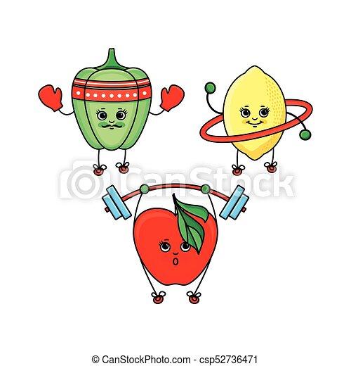 Pepper, lemon and apple characters doing sport - csp52736471