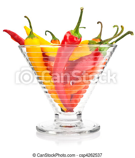 pepper vegetable fruits in glass vase isolated - csp4262537