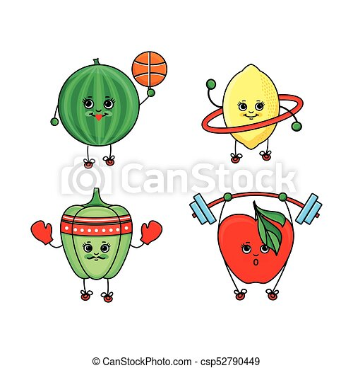 Pepper, watermelon, lemon and apple doing sport - csp52790449