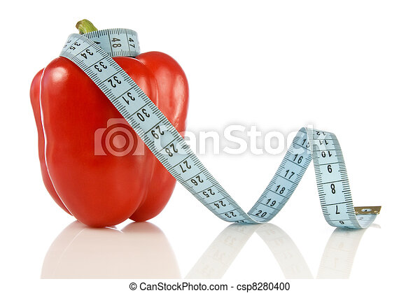 pepper with a blue measuring tape - csp8280400
