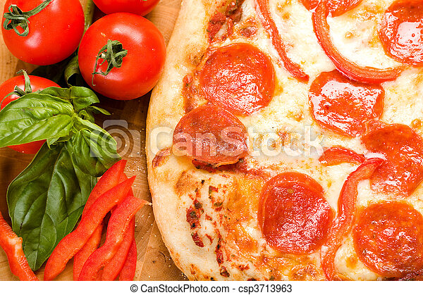 Pepperoni and Pepper pizza - csp3713963
